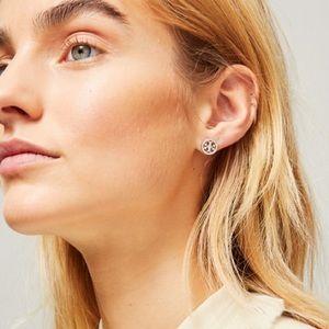 Tory Burch Jewelry - Tory Burch silver pave logo circle stud earrings
